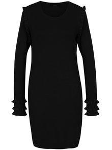 Čierne svetrové šaty s volánmi VERO MODA Colusa