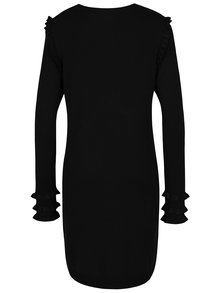 Rochie - pulover negru cu volane discrete - VERO MODA Colusa