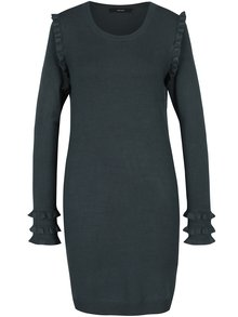 Tmavozelené svetrové šaty s volánmi VERO MODA Colusa
