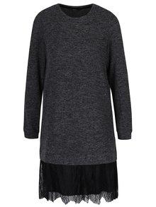 Tmavě šedé žíhané svetrové šaty s krajkou VERO MODA Gigi