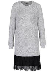 Svetlosivé melírované svetrové šaty s čipkou VERO MODA Gigi