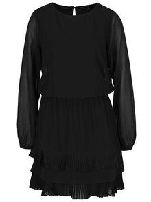 Rochie neagră cu pliseuri și volane - VERO MODA Freya