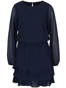 Tmavě modré šaty s průsvitným rukávem VERO MODA Freya