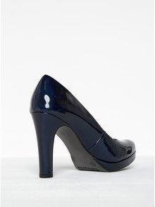 Pantofi bleumarin lăcuiți cu toc și platformă Tamaris