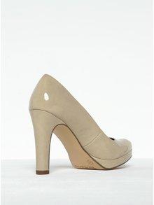 Pantofi nude lăcuiți cu toc și platformă Tamaris