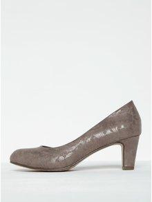 Pantofi bej cu toc și model floral Tamaris