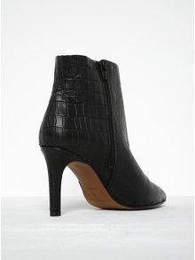 Čierne členkové kožené topánky s hadím vzorom Selected Femme Alexandra