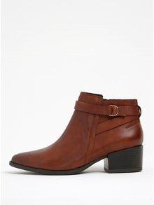 Hnedé dámske kožené členkové topánky na širokom podpätku Vagabond Marja