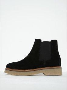 Čierne semišové chelsea topánky Pieces Pamelin