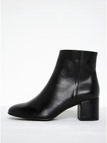 Čierne kožené členkové topánky na podpätku Högl