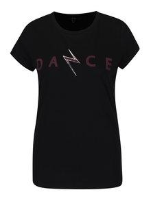 Čierne tričko s krátkym rukávom a potlačou VERO MODA Dance Studio