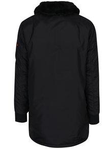Černý pánský kabát s pravou kožešinou ALPHA INDUSTRIES