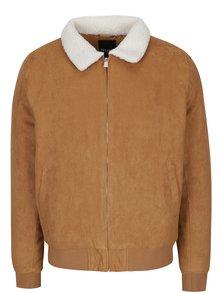 Hnědá bunda s umělým kožíškem ONLY & SONS Preston