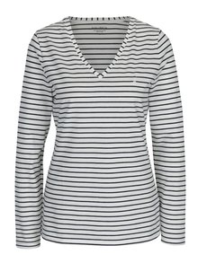 Krémové dámské pruhované tričko s dlouhým rukávem Nautica