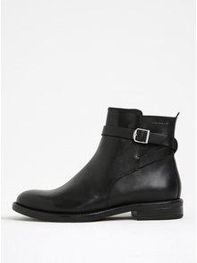 Čierne dámske kožené členkové topánky s prackou Vagabond Amina