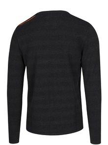 Tmavosivý vzorovaný sveter so zapínaním na ramene Kronstadt Keld Plain