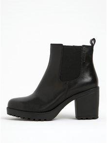 Čierne dámske kožené chelsea topánky na podpätku Vagabond Grace