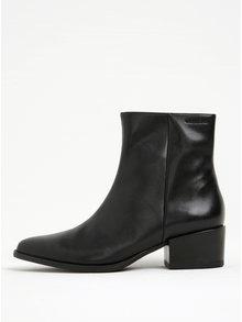 Čierne dámske kožené členkové topánky na podpätku Vagabond Marja