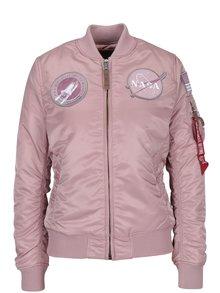 Geacă bomber roz cu aplicații NASA pentru femei ALPHA INDUSTRIES