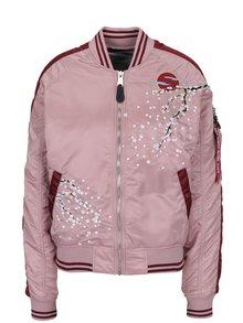 Geacă bomber roz cu broderie pentru femei ALPHA INDUSTRIES