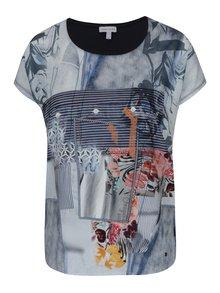 Bluză bleumarin cu print floral și cu dungi -  Gina Laura