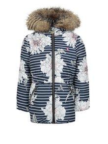 Krémovo-modrá dievčenská prešívaná bunda so vzorom Tom Joule Belmont