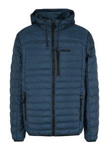 Modrá pánská prošívaná nepromokavá bunda s kapucí LOAP Isop