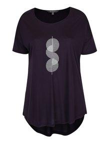 Fialové tričko s třpytivým potiskem Ulla Popken