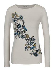 Krémový dámský svetr s motivem květin a ptáků M&Co