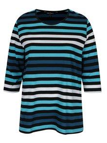 Čierno-tyrkysové pruhované tričko s 3/4 rukávom Ulla Popken
