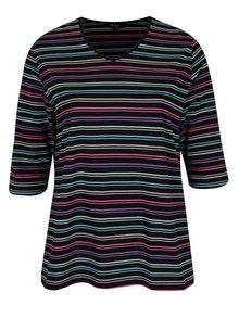 Čierne pruhované tričko s 3/4 rukávom Ulla Popken
