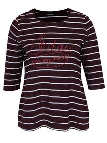 Vínové pruhované tričko s 3/4 rukávem Ulla Popken