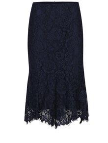 Tmavomodrá čipková sukňa s volánom M&Co