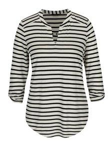 Černo-krémové dámské pruhované tričko s 3/4 rukávem M&Co