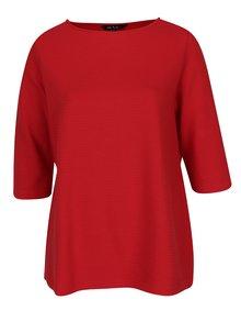 Bluză roșie cu mâneci 3/4 și dungi în relief Ulla Popken