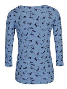 Modré dámské tričko s potiskem ptáků M&Co