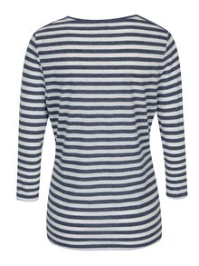 Krémovo-modré dámské pruhované tričko s krajkovými detaily M&Co