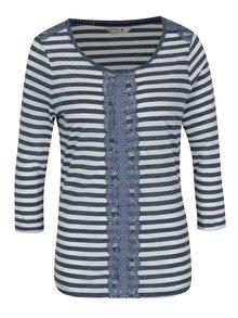 Bluză crem cu bleumarin în dungi cu aplicație de dantelă M&Co