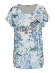 Modro-krémové dámske kvetované tričko s prímesou ľanu M&Co