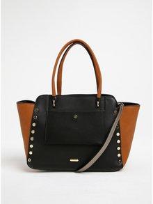 Hnědo-černá kabelka s aplikací ve zlaté barvě Gionni Maddy