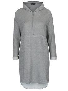 Svetlosivé mikinové šaty s kapucňou Ulla Popken
