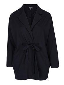 Tmavomodrý tenký kabát s opaskom Ulla Popken