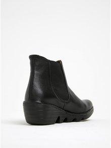 Čierne dámske kožené chelsea topánky na platforme FLY London