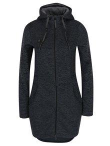 Tmavosivá dámska dlhá mikina na zips s kapucňou LOAP Gabina