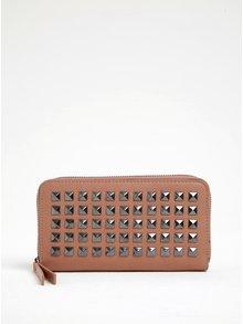 Hnedá peňaženka s aplikáciou v striebornej farbe Pieces Jasmina