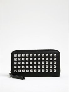 Čierna peňaženka s aplikáciou v striebornej farbe íPieces Jasmina
