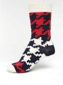 Șosete cu model houndstooth bleumarin & crem pentru femei - Happy Socks Dogtooth