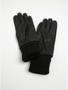 Čierne kožené rukavice Pieces Jonja