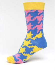 Žluto-modré dámské vzorované ponožky Happy Socks Dogtooth