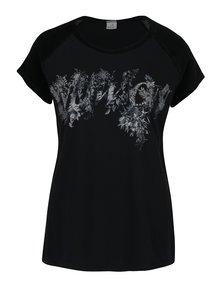 Čierne tričko s potlačou a zamatovým rukávom DEHA